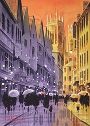 Light on the Minster, York by Peter J Rodgers - Original Painting on Paper sized 20x28 inches. Available from Whitewall Galleries